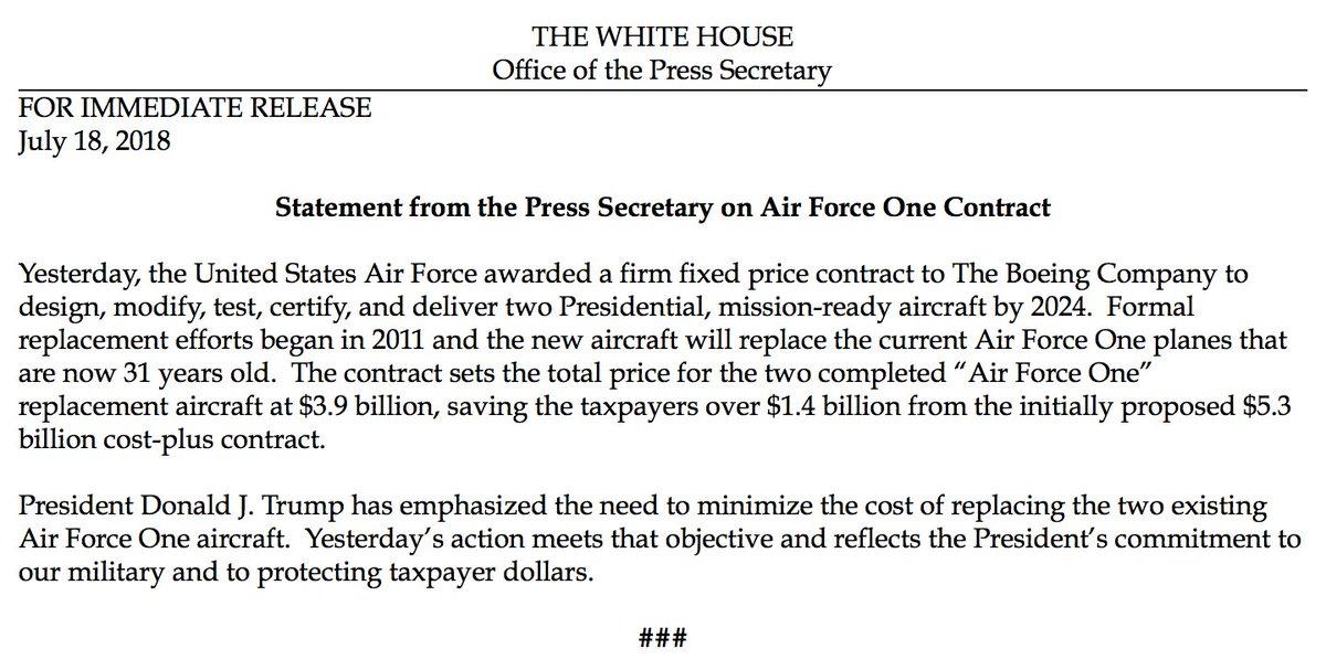 Hasil gambar untuk TRUMP SAVES TAXPAYERS $1.4 BILLION ON AIR FORCE ONE CONTRACT