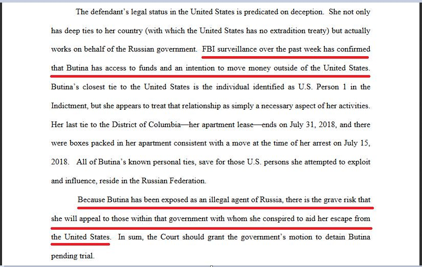 Prosecutors ask a federal judge to keep Mariia Butina in prison, fearing she will flee the country if released
