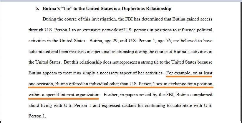 More info in these documents on the relationship between Butina and 'U.S. Person 1'