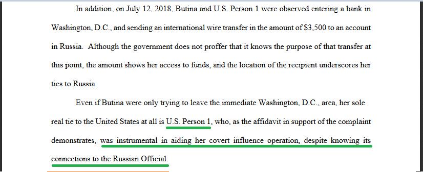 And it is clear from these Butina documents that 'U.S. Person 1' may need some good lawyers