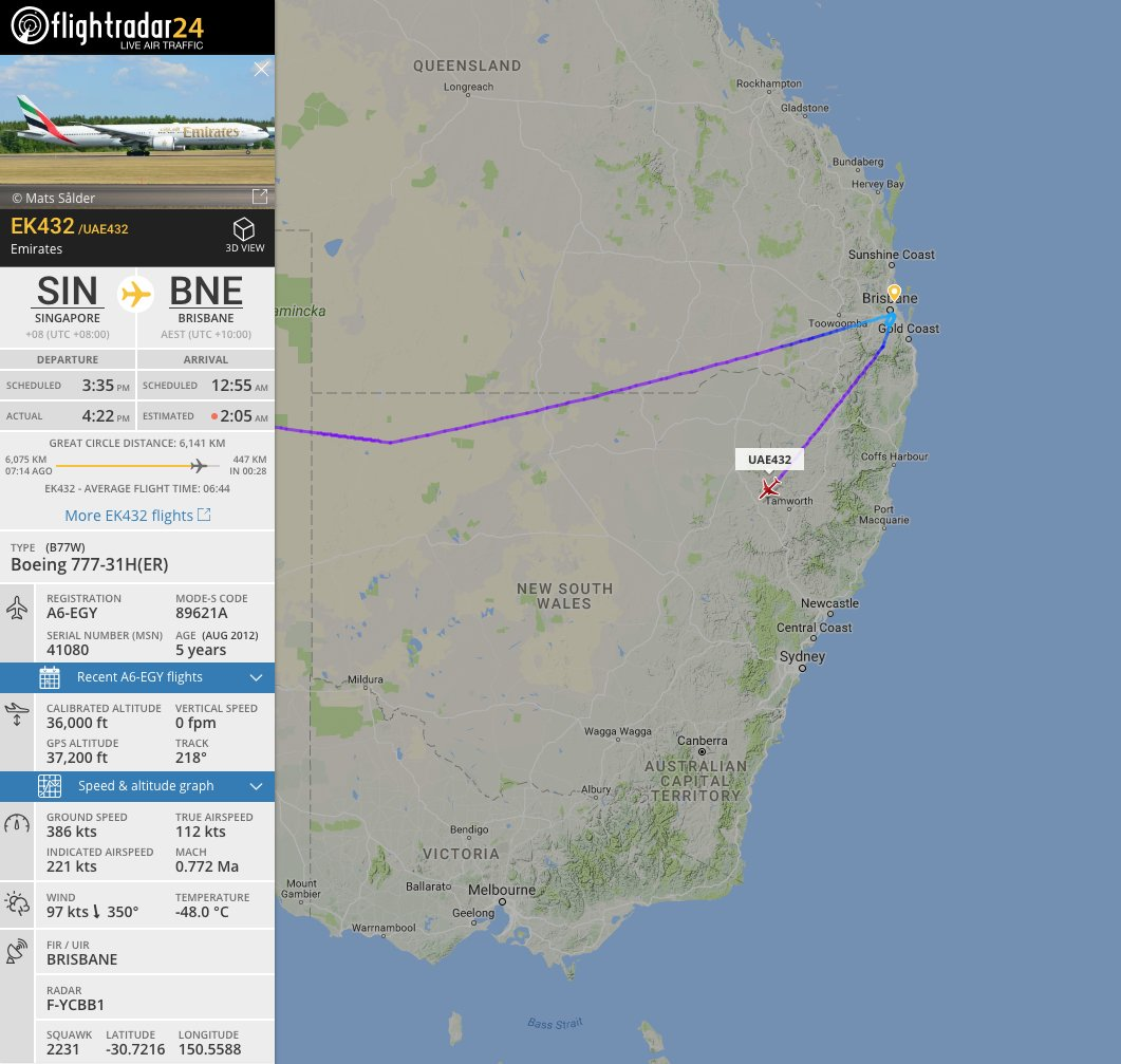 With the closure of Brisbane's runway, #EK432 is diverting to Melbourne. https://t.co/FfcO0398qY