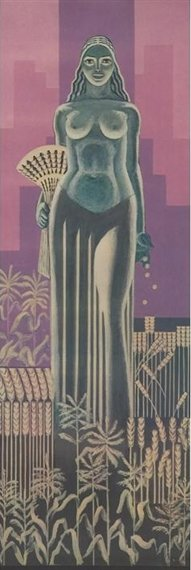 Commissioned in 1930 but removed and stored from 1973-1982, John W. Nortons three-story mural of Ceres underwent extensive restoration by Louis Pomerantz before being displayed in the atrium of the 1980s addition of the Chicago Board of Trade Building. #mural #artdeco #chicago