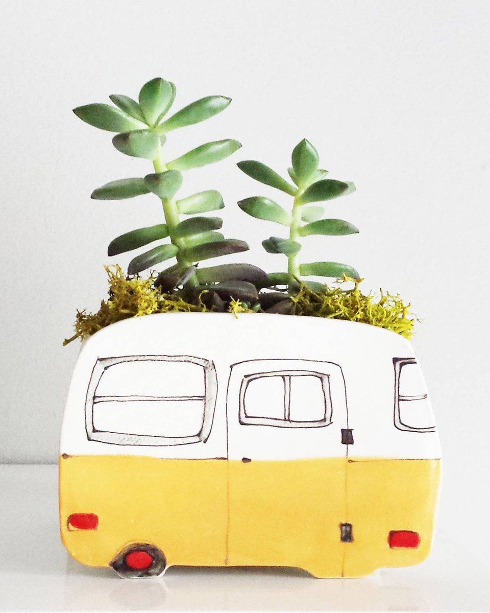 We wouldn't mind living in a situation like this. 🌿 This caravan planter is handmade by @EtsyCA seller Julie Richard Ceramist. https://t.co/JT4R8bmKy2