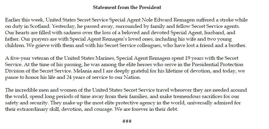 Trump statement on Secret Service Special Agent Edward Remagen, who suffered a stroke and died while traveling with the president