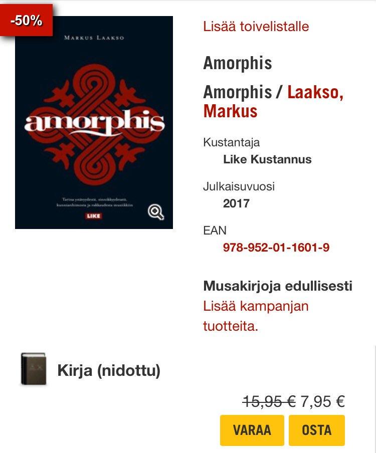 Jos #amorphiskirja vielä puuttuu 👉 @Levykauppax https://t.co/cUGkd7LsMd #markuslaakso #amorphis https://t.co/ZuBtGzoCQG