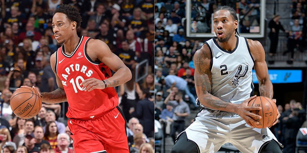 Official: We've acquired Kawhi Leonard & Danny Green from the San Antonio Spurs for DeMar DeRozan, Jakob Poeltl & a 2019 protected first-round draft pick.   More » https://rpt.rs/2LlpBTF