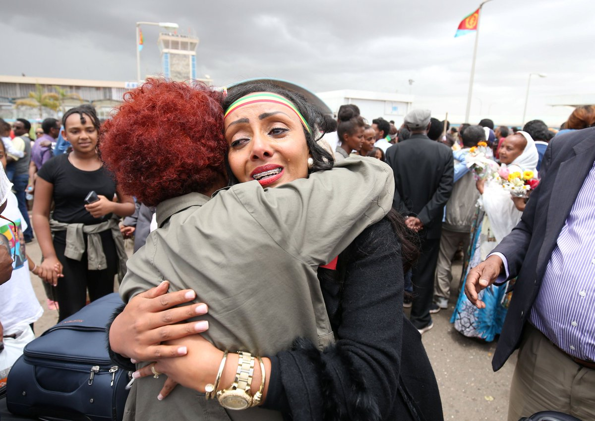 Eritrea and Ethiopia started direct flights for the first time in 20 years, after officially ending a decades-old border war that killed 80,000 people. Some of the families separated by the conflict are being reunited for the first time in years: