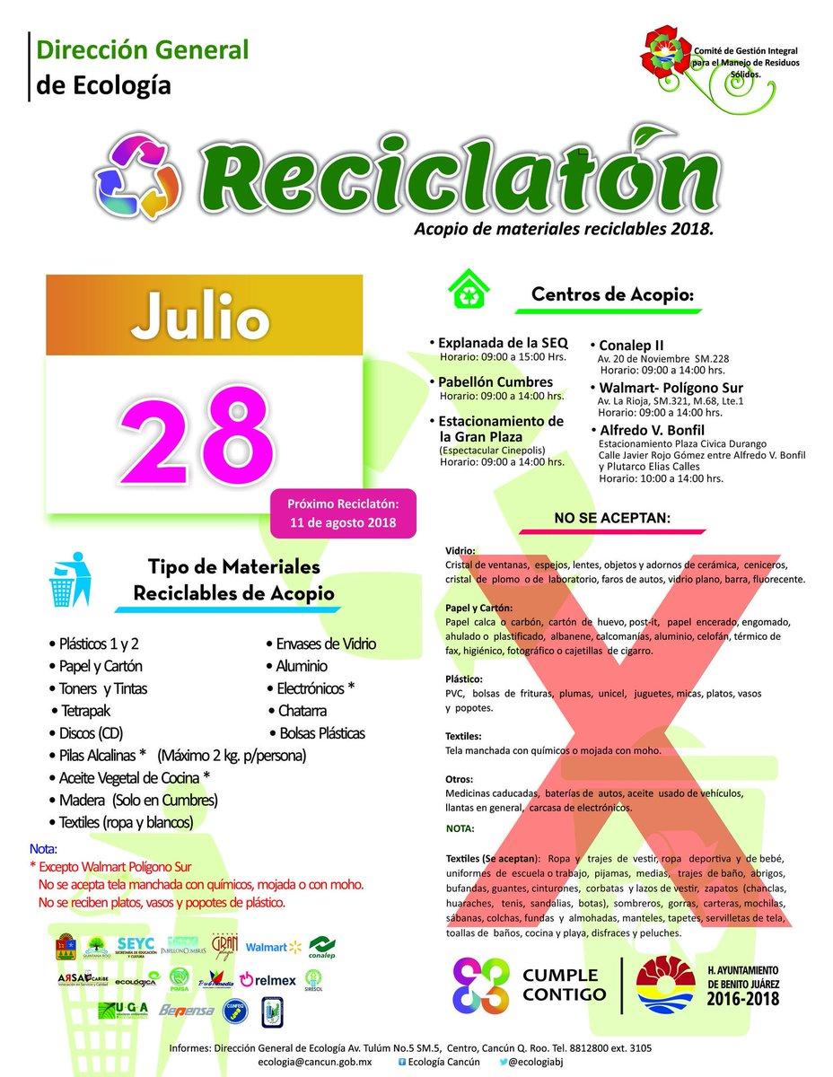 Junta tus artículos!. Sábado 28 #julio es el #Reciclatón  Acude a tu centro de acopio más cercano. #Cancún https://t.co/bP0cDg1zUZ