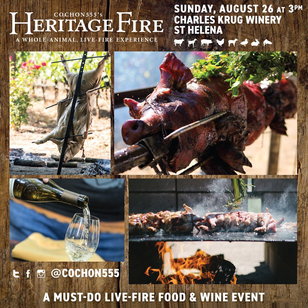 #FoodLover Alert 🚨for #NorCal: The epic  #Feast of the summer is on! #SaveTheDate ... Sunday August 26 is #HERITAGEFIRE 🔥#NAPA - - GRAB TICKETS NOW —>   fhttps://t.co/4Y5xSS6Ht2o#Calir#Californian#Sonomai#StHelenaa   🍇 @charleskrugwine#NoCalry