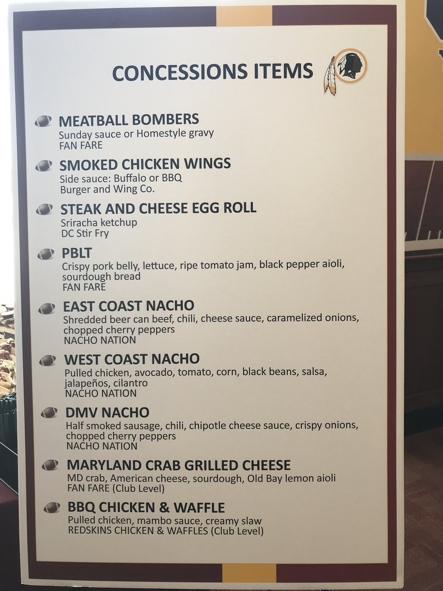 At FedEx Field to see the new food items that are being unveiled and presumably to sample them. Here's the new menu