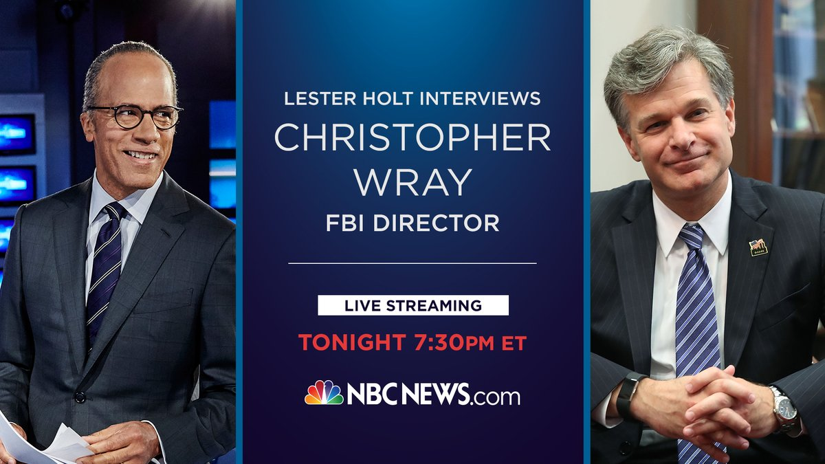Tonight @LesterHoltNBC talks one-on-one with FBI Director Christopher Wray at the Aspen Security Forum.  Watch live at 7:30 p.m. ET: https://t.co/9xWNaJNSrV
