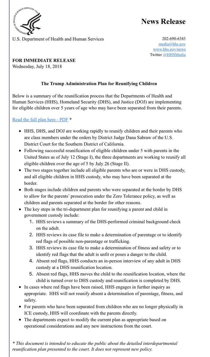 My inbox just now from HHS: Read the Trump Administration Plan for Reunifying Children
