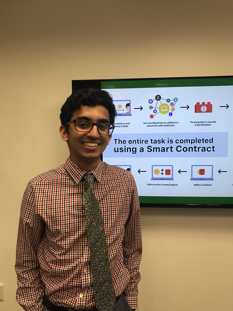 .@CodingItForward Civic Digital Fellow, @MadathilVisakh, presented on smart contracts &  tod#blockchainay during a lunch & learn. Thanks Visakh for spending the summer with us & contributing to data-driven solutions @HHSGov