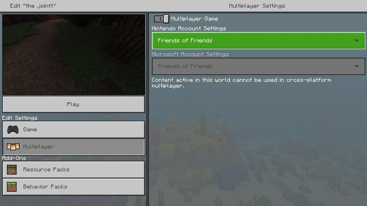 minecraft switch multiplayer cross platform