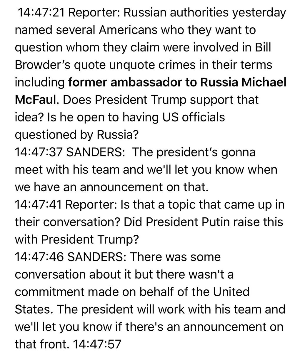 Don't let this question by @maggieNYT go unnoticed. Sanders says Trump will discuss allowing Russia to question American citizens