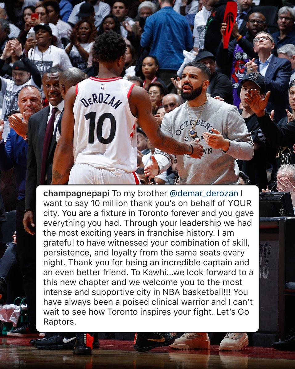 .@Drake thanks @DeMar_DeRozan