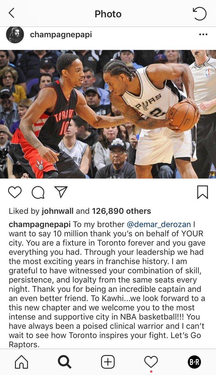 Drake pays homage to @DeMar_DeRozan 🙏