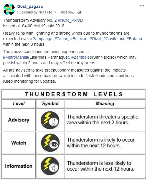 Thunderstorm Advisory No. 2 #NCR_PRSD Issued at: 04:00 AM 19 July 2018