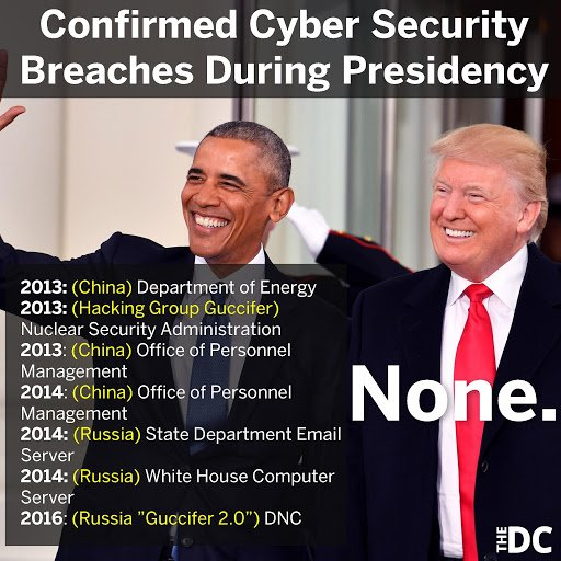 Seems like a lot of the cybersecurity breaches happened under Obama and then have stopped. Why aren't Brennan, Morrell, Lynch, Holder, or Comey being asked or investigated about this?