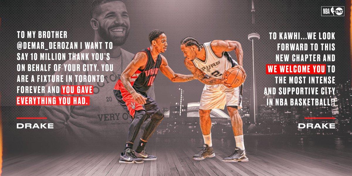 .@Drake pays tribute to DeMar & welcomes Kawhi to the 6ix. 🙌