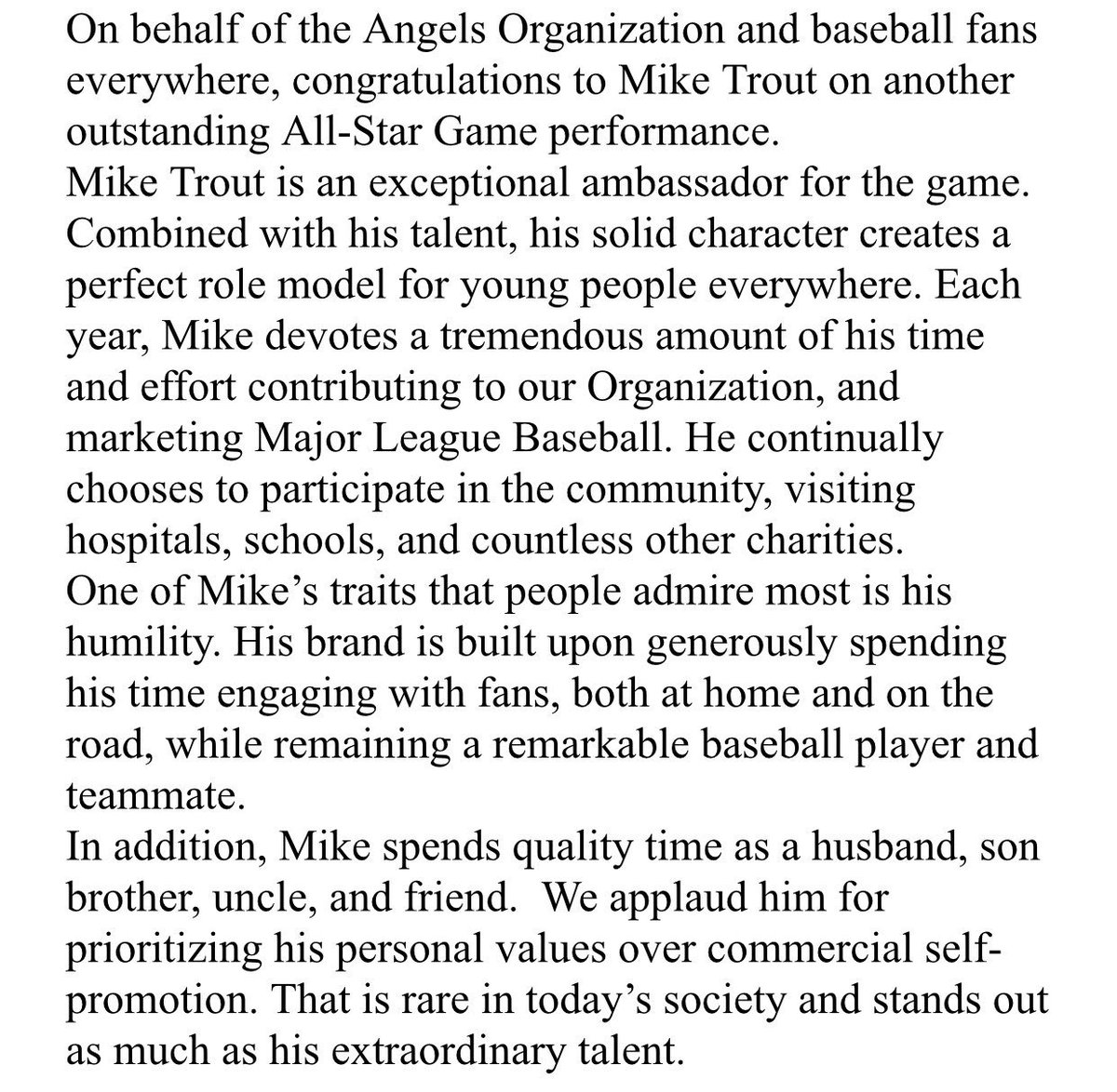 Today, the #Angels released the following statement on OF Mike Trout: