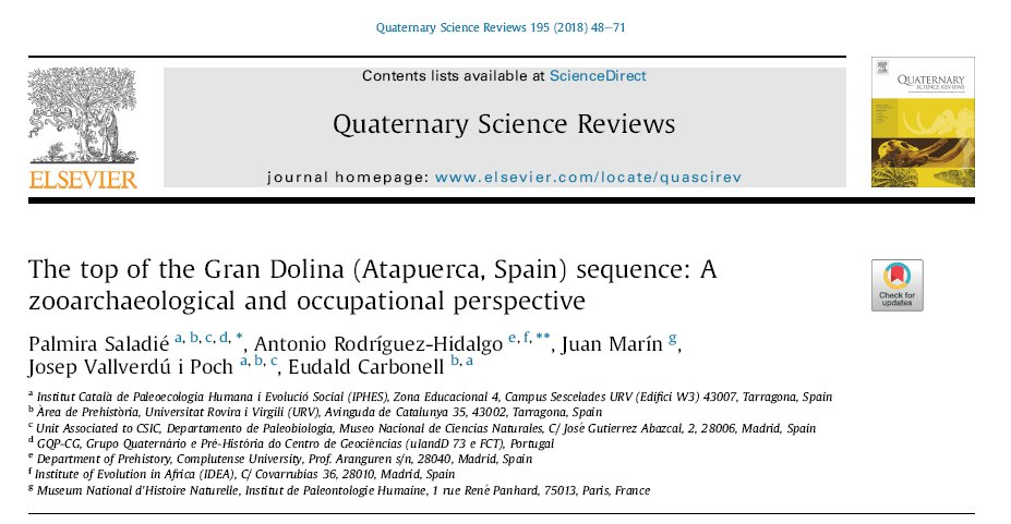 After 22 years, we are finishing digging Gran Dolina TD10. At the same time, we have just published the taphonomic study of the upper part of the sequence ✔️Upper TD10.1  @PalmiraSaladie @JuanHMarin @eudaldcarbonell #PepVallverdú #atapuerca2018  Download https://authors.elsevier.com/c/1XP7u-4PRmM1C#.W0-uexmzfUQ.twitter …
