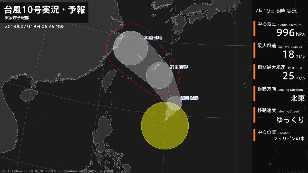 【台風10号実況・予報 2018年07月19日 06:43】 台風10号は、フィリピンの東をゆっくりと北東に進んでいます。