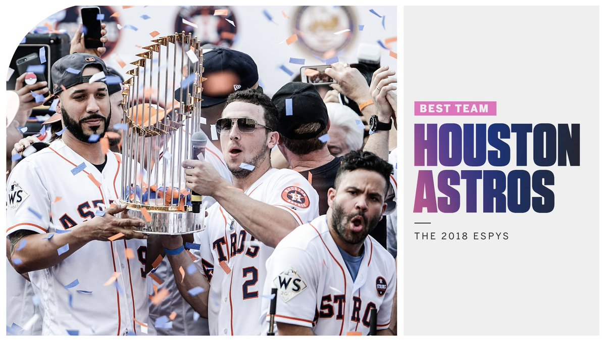 After winning their first World Series title in franchise history, the @astros take home this year's Best Team Award! #ESPYS