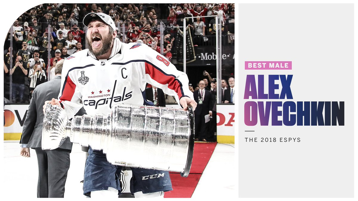 It took 13 seasons, but @ovi8 finally took home the Stanley Cup and this year's Best Male Athlete Award! #ESPYS