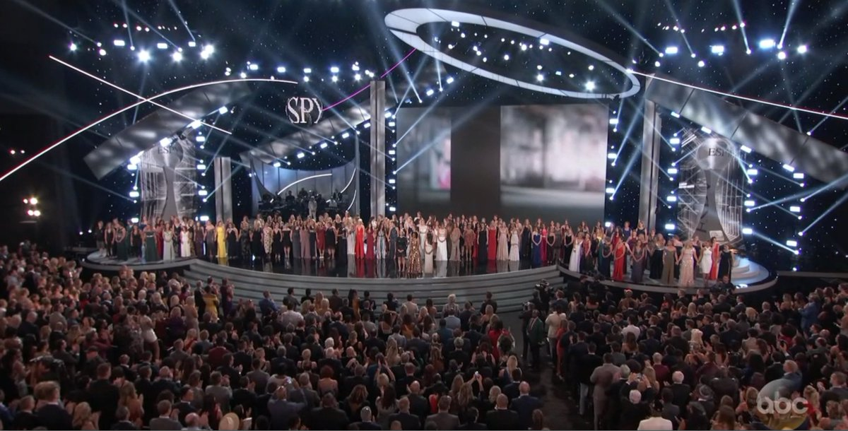 A picture of courage.  These 141 women on stage tonight are representatives for all the survivors who spoke out about the abuses they endured by their team doctor.