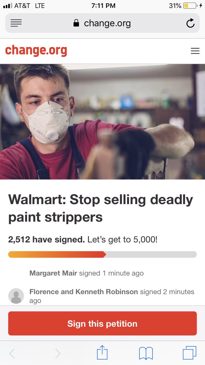 580451919f Sign the petition  https   www.change.org p walmart-stop-selling-deadly- paint-strippers-mindthestore …  walmart  WMTpic.twitter.com Bhz87WSW79