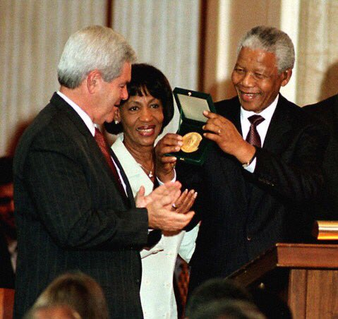 Nelson Mandela was one of the greatest leaders of our lifetime. It was an honor to present him w/ the Congressional Gold Medal when I was Speaker. He's an inspiration to us all & a leader worth studying for as long as people want to learn about greatness in serving others.