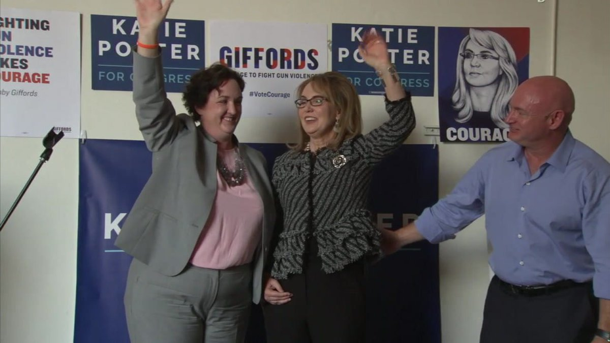 Congressional candidate @katieporteroc receives support from former Arizona Rep. @GabbyGiffords at Tustin rally to end gun violence https://t.co/cld9C6BfX8