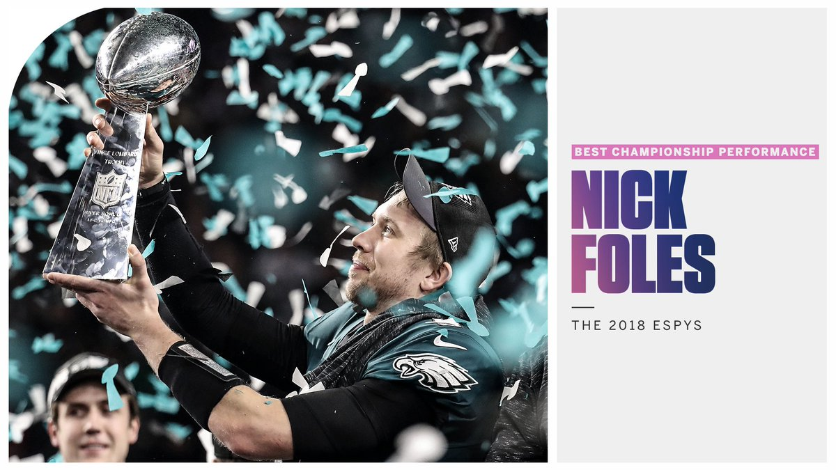 From backup to Super Bowl MVP ... this year's Best Championship Performance goes to @NickFoles! #ESPYS