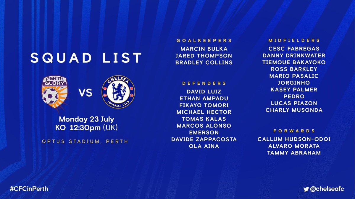 The squad are due to arrive in Australia in the next few hours! ✈️🇦🇺  ICYMI: Here is our 25-player group who have headed to Perth! 👊  #CFCinPerth
