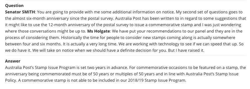 There won't be a postal survey stamp. If there is, it won't be until 2067.