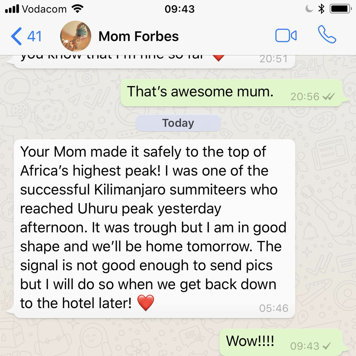 Can't believe you actually went ahead and did it!!! 😂 You've been speaking about it for YEARS & YEARS 🌁  Can#Trek4Mandela't wait to speak to you!! Hurry!! CONGRATULATIONS MOM!!!! ❤️❤️❤️❤️❤️❤️❤️ Super insanely PROUD & INSPIRED. @lynnforbesza