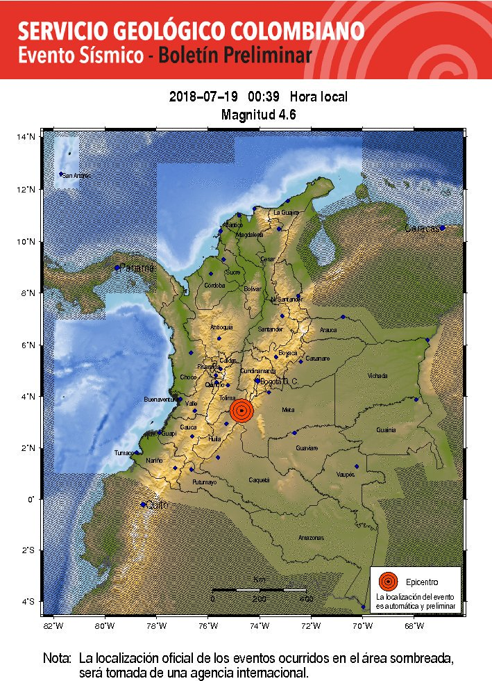 #Ampliación Servicio geológico colombiano reporta sismo en el país de 4,6 con epicentro Colombia, Huila.   ¿Desde dónde reporta el movimiento telúrico? Cuéntenos en #NoticiasCaracol https://t.co/Kb1aG9p8zP