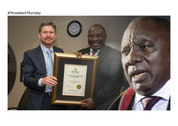 #ThrowbackThursday (Then) Deputy President Cyril Ramaphosa was awarded with a Lifetime Achievement Award from Regenesys Business School. (Thursday June 22 2017). We award Lifetime Achievement Awards to candidates who represent remarkable business success. Photo