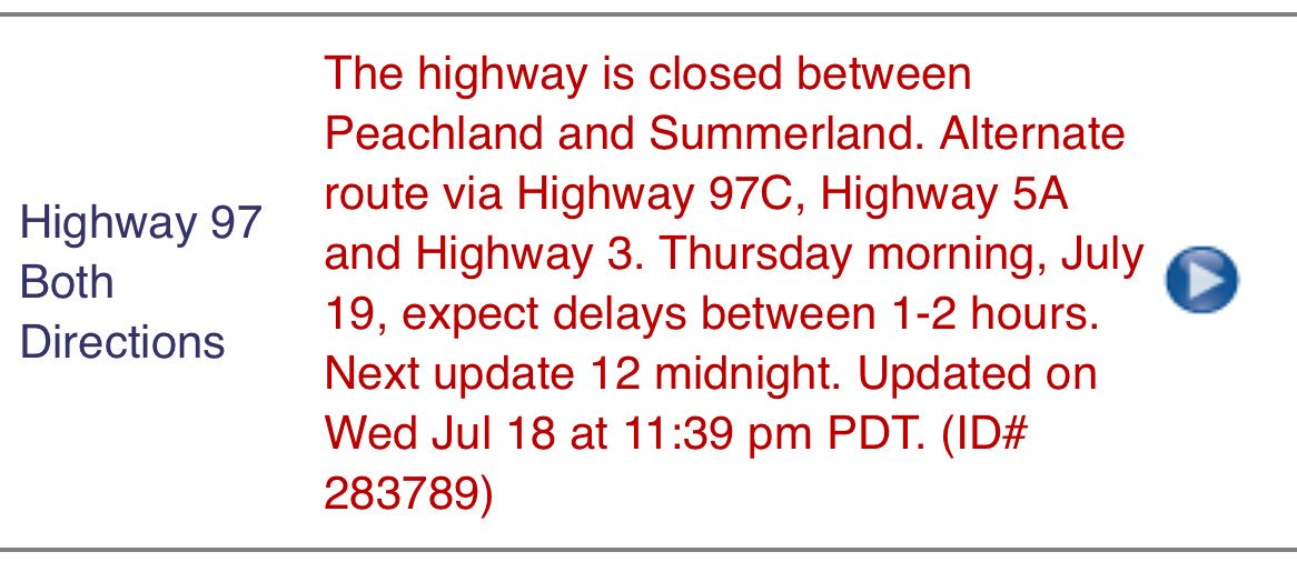 And now reporting hwy97 is again close between peachland and
