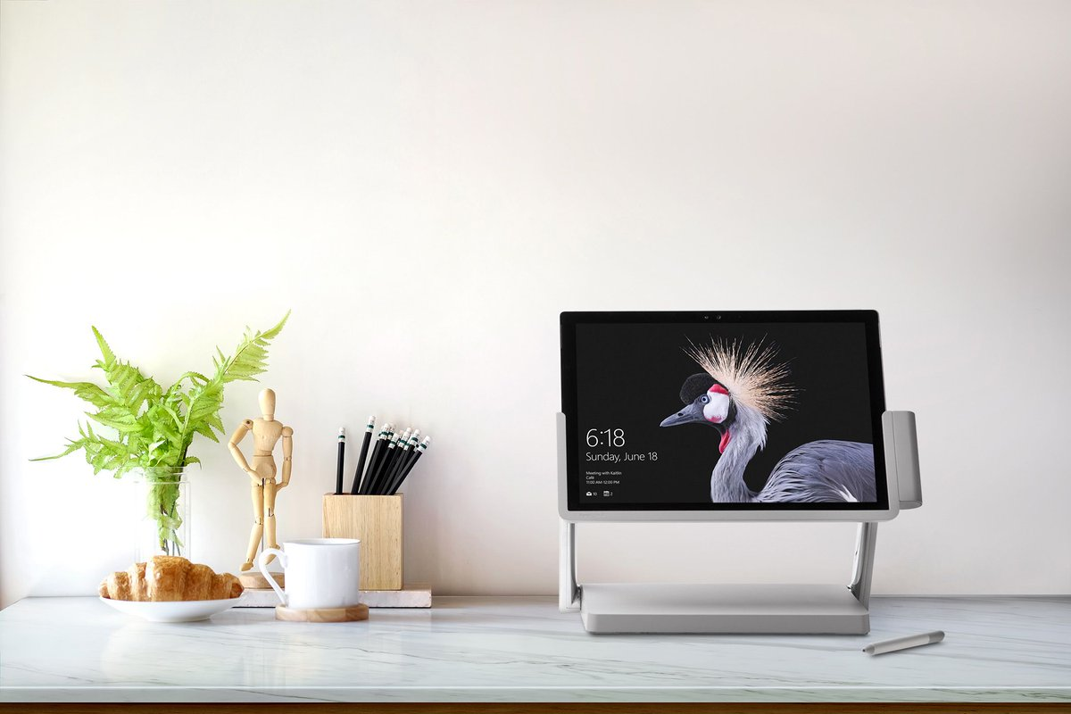 This dock turns a Surface Pro into a miniature Surface Studio https://t.co/u2YG1dezBW