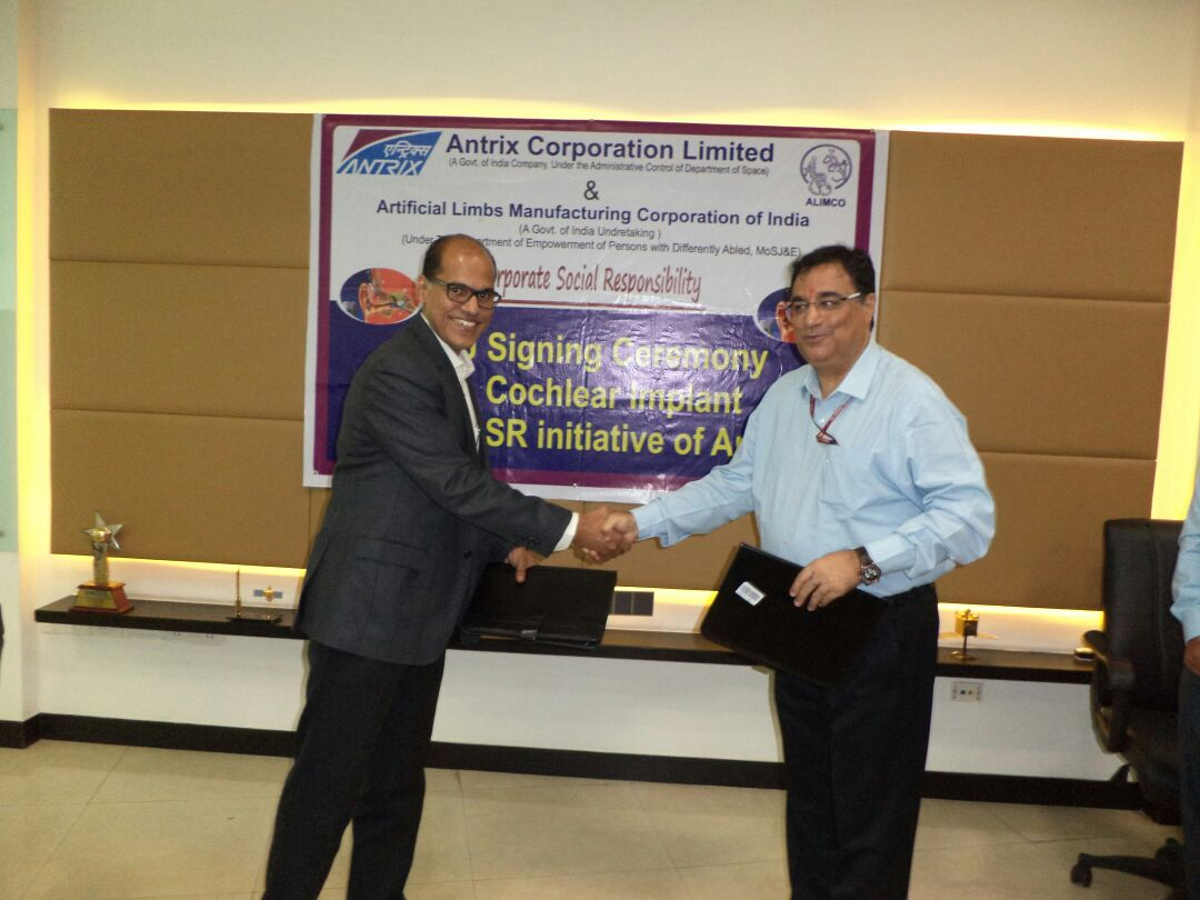 Antrix Corporation Ltd. have signed a MoU with ALIMCO at ANTRIX Bhavan in Bangalore today for Cochlear Implant worth Rs 31.5 Lakhs to the hearing and speech impaired children under its CSR initiative. Sh.Rakesh Sasibhusan,CMD,Antrix Corp. &Sh.D.R.Sarin,CMD, ALIMCO signed the MoU