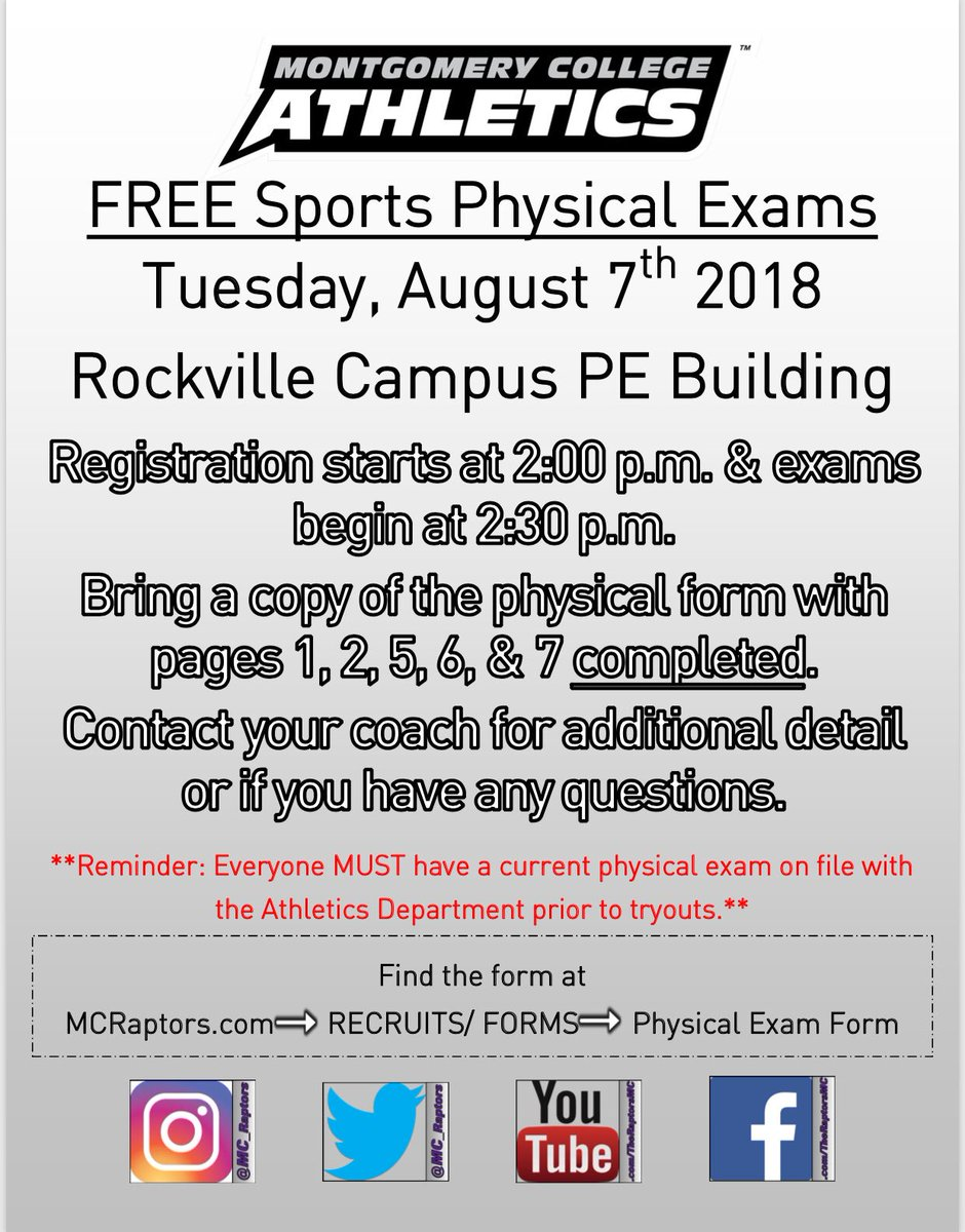 "free form 2 exams  MC Raptors على تويتر: ""Sports physical exams will be taking ..."