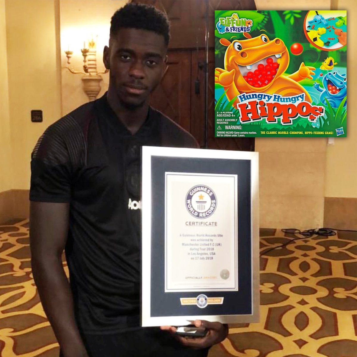 Manchester United's Axel Tuanzebe broke the Guinness World Record for the fastest time to clear a game of Hungry Hungry Hippos ever, at just over 17 seconds! 👀😂