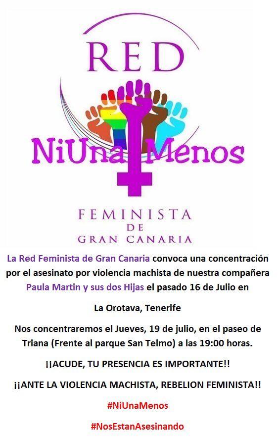 Hoy estaremos acompañando a La red feminista de Gran Canaria. #NiUnaMenos