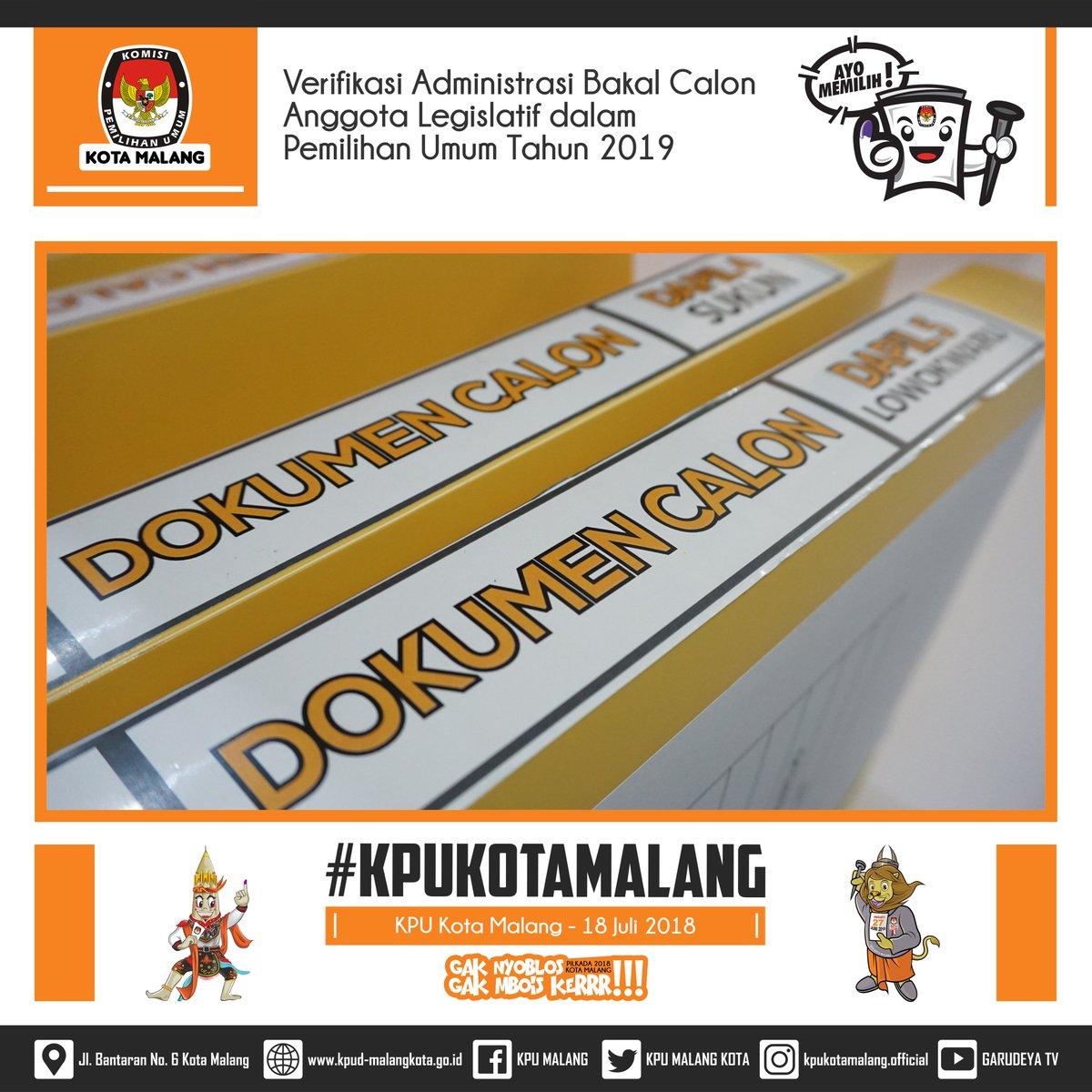 Verifikasi Administrasi Bakal Calon Anggota DRPD Kota Malang dalam Pemilihan Umum Tahun 2019 . Rabu, 18 Juli 2018 . #KPUMELAYANI #KPURI #KPUPROVINSIJAWATIMUR #KPUKOTAMALANG #Pemilu2019 #PemilihBerdaulatNegaraKuat #PilgubJatim2018 #PilgubJatimGuyubRukun #PilkadaKotaMalang2018