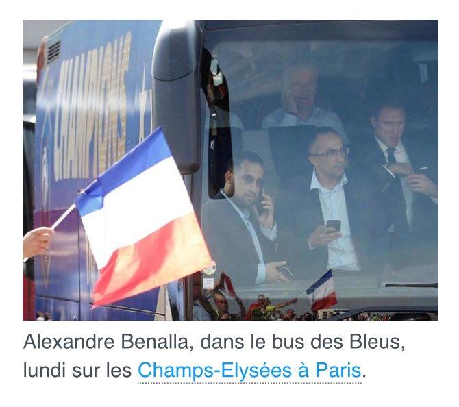 C'est peut être Alexandre #Benalla présent dans le bus des #Bleus lundi qui a fait accélérer la descente des #ChampsElysees et créer la grande frustration auprès des supporters (dont j'étais) ?