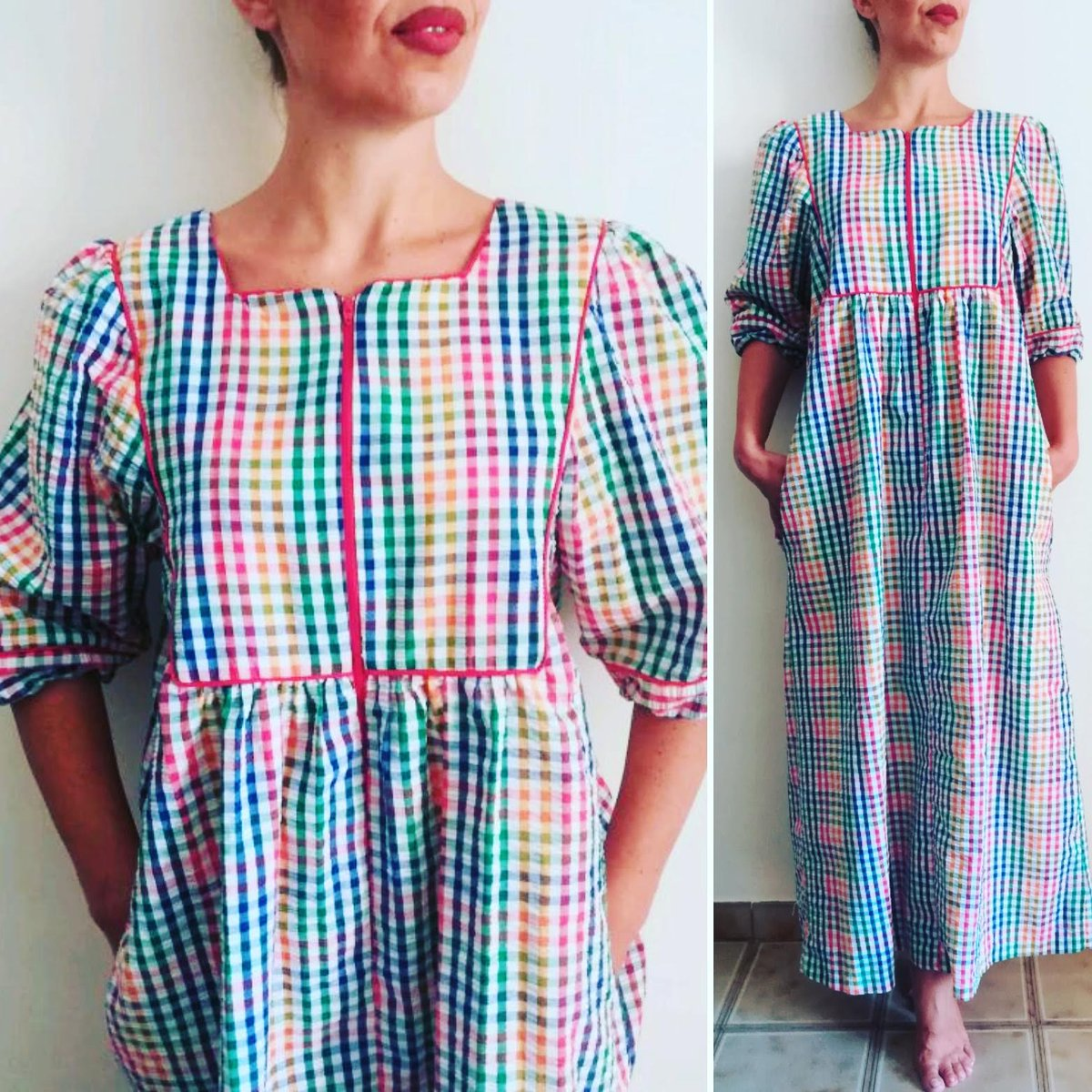 41d360a12b9 80s Saybury Maxi Dress http   presquenew.etsy.com  presquenew  vintage   saybury  maxidress  checked  checkeddress  womandress  dress  dresses   colorful ...