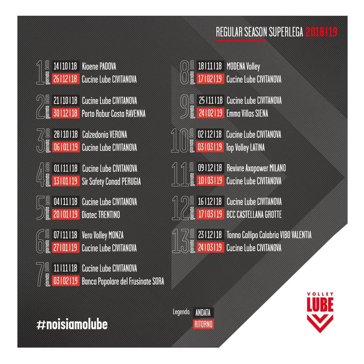 Lube Volley Calendario.A S Volley Lube Civitanova On Twitter Il Calendario