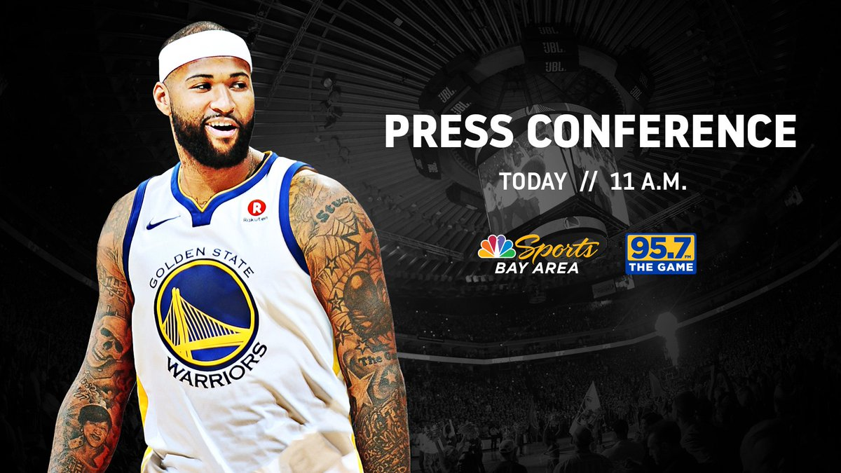 Almost time to officially welcome @boogiecousins to #DubNation! 🕚 11 am (PST) 👀 LIVE on Facebook & warriors.com 📺 @NBCSAuthentic 📻 @957thegame